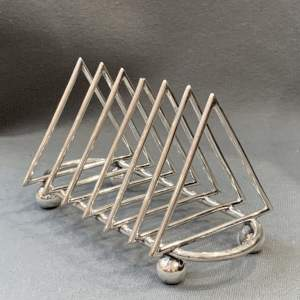 Silver Plated Toast Rack in the manner of Dr Christopher Dresser