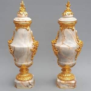 Fine Pair of Elegant Ivory Marble Cassolette