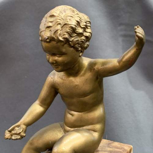 1920s Spelter Figure of a Putti sat on a Marble Column image-3