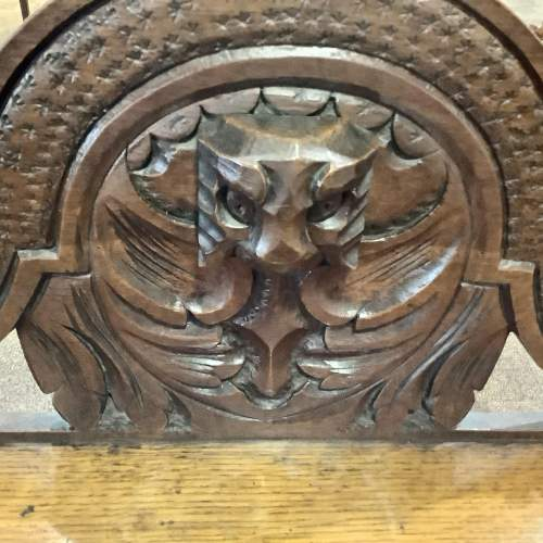 Victorian Carved Oak Green Man Hall Bench Seat image-6