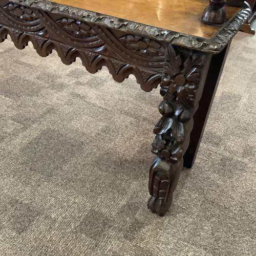 Victorian Carved Oak Green Man Hall Bench Seat image-7