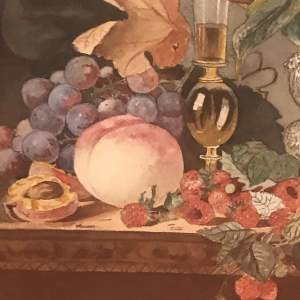 A Watercolour Still Life of Display of Fruit on a Table