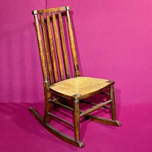 High Backed Rush Seated Rocking Chair