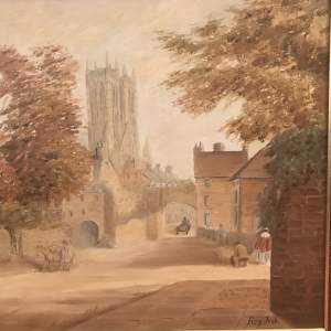 Lincoln Cathedral with Newport Arch Oil on Canvas signed Roy Fisk
