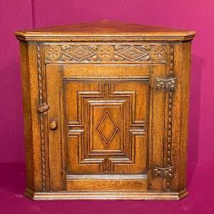 Nicely Carved Oak Corner Cupboard