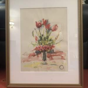 Still Life Watercolour of Red Tulips by Franklin White