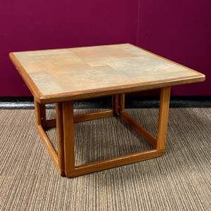 1970s Teak Coffee Table with Tiled Top