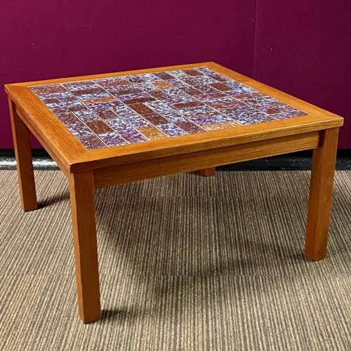 1970s Danish Teak Tile Top Coffee Table image-1