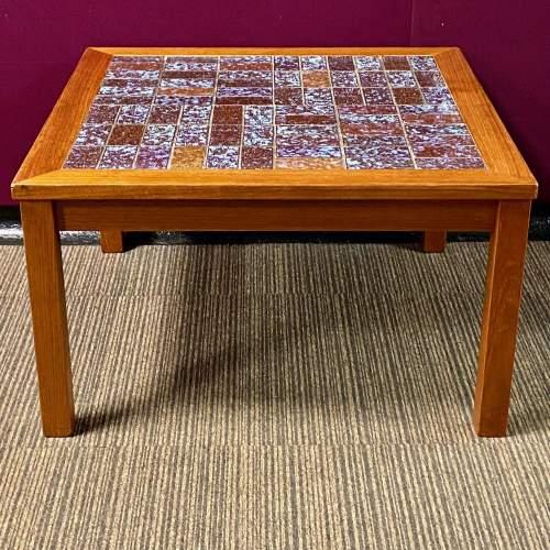 1970s Danish Teak Tile Top Coffee Table image-2
