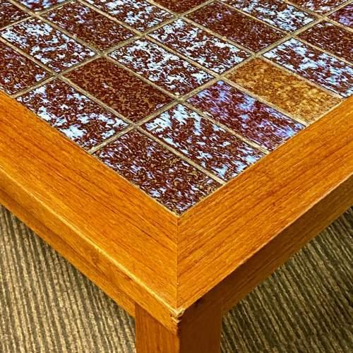 1970s Danish Teak Tile Top Coffee Table image-3