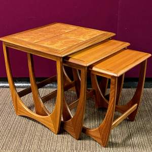 1970s G-Plan Teak and Tile Top Nest Of Tables
