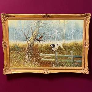 20th Century Oil on Canvas of a Hunting Scene