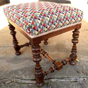 Victorian Turned Walnut Stool with Harlequin Fabric