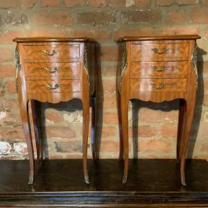 Pair of French Side or Bedside Cabinets With Inlaid Tops and Drawers