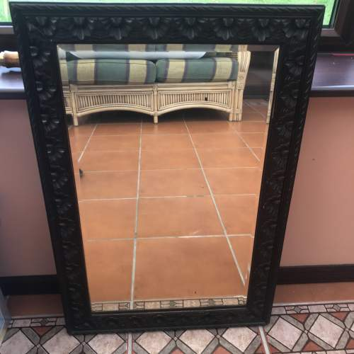 A Rectangular Carved Wall Mirror With Bevelled Glass image-2