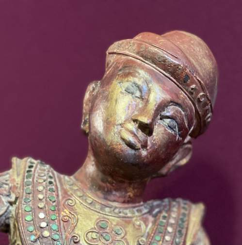 Old Hand Carved Indonesian Figure Very Unusual Piece Superb image-1