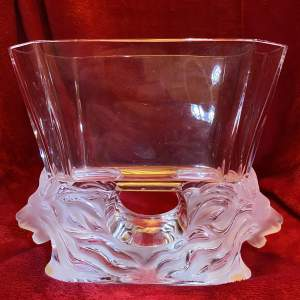 Lalique Venise Pattern Lion Head Glass Vase