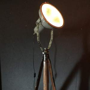 Industrial Spotlight Mounted on a Vintage Mahogany Tripod