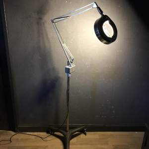 Very Rare Early Operating Theatre Magnifying Trolley Lamp by Luxo