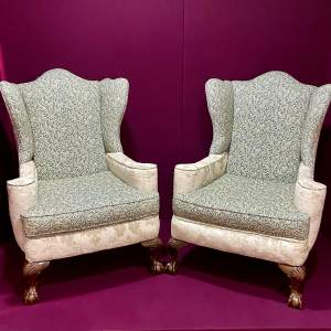 Pair of Upholstered Wingback Armchairs