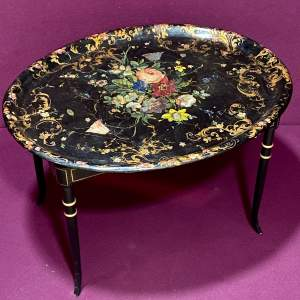 Mid 19th Century Papier-Mache Tray on Stand