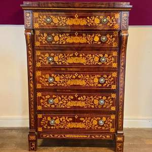 Early 19th Century French Marquetry Inlaid Chest Of Drawers
