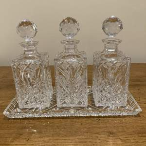Set of Three Crystal Cut Glass Decanters on Cut Glass Tray