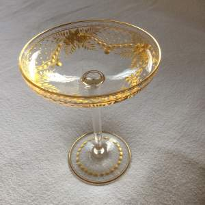 Unusual Tall Gilded Champagne Coupe