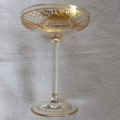 Unusual Tall Gilded Champagne Coupe image-3