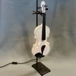 Upcycled Lamp of a White Violin on Vintage Laboratory Retort Stand