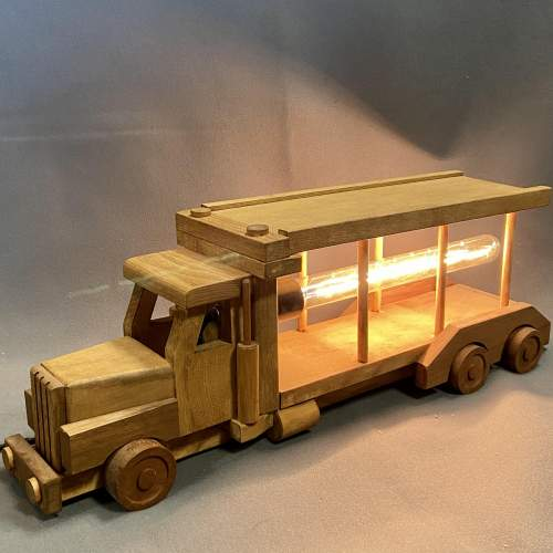Upcycled Old Wooden Toy Truck Quirky Lamp image-1