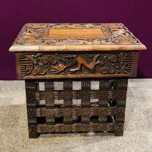 Chinese Carved Wooden Travelling Table