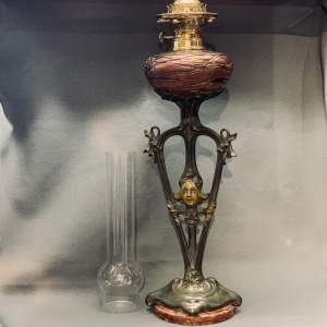 Art Nouveau Spelter and Loetz Glass Oil Lamp