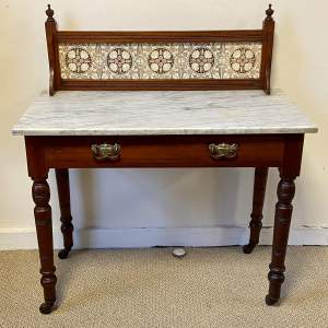 Late Victorian Marble Top and Mahogany Frame Washstand