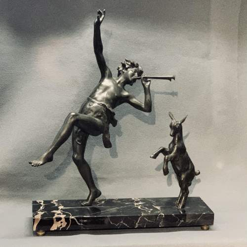 Art Deco Spelter Sculpture of a Boy and a Dancing Goat image-1