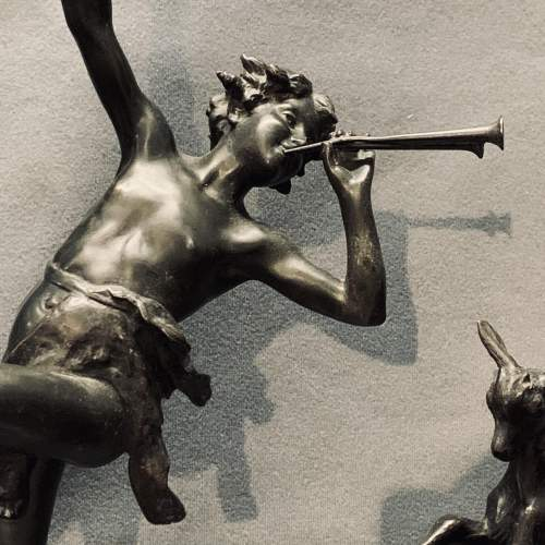 Art Deco Spelter Sculpture of a Boy and a Dancing Goat image-3