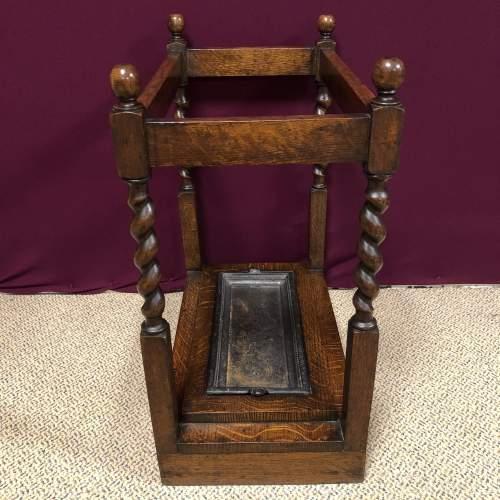Early 20th Century Barleytwist Oak Stick Stand image-2