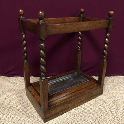 Early 20th Century Barleytwist Oak Stick Stand image-1