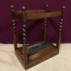 Early 20th Century Barleytwist Oak Stick Stand