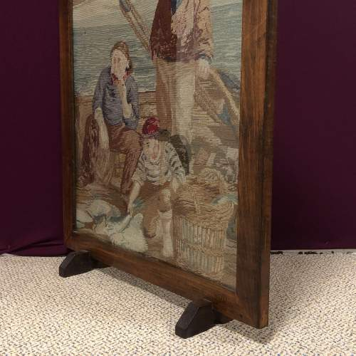 1930s Woolwork  Tapestry Fire Screen of Fishermen image-2