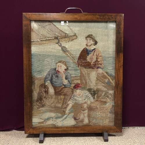 1930s Woolwork  Tapestry Fire Screen of Fishermen image-1
