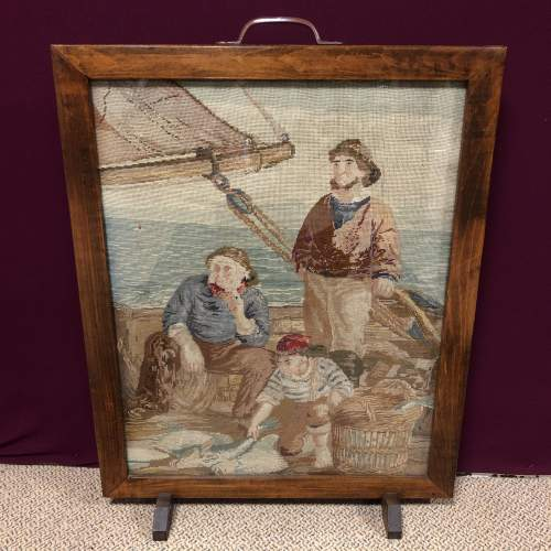 1930s Woolwork  Tapestry Fire Screen of Fishermen image-5