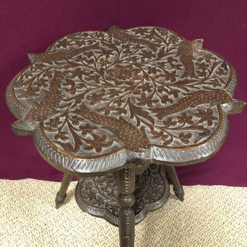 Oriental Style Carved Wood Occasional Table image-2