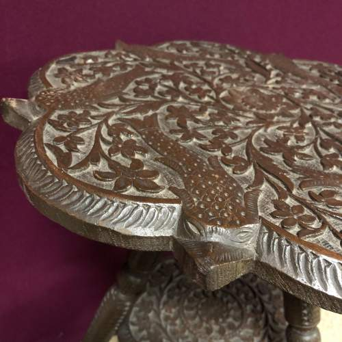 Oriental Style Carved Wood Occasional Table image-4