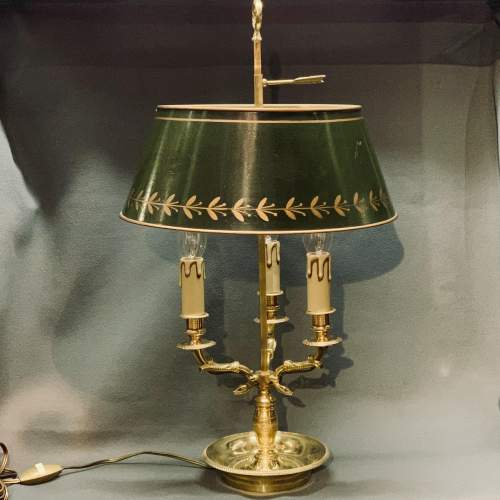 Large French Brass Toleware Desk Lamp image-1