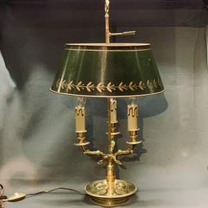 Large French Brass Toleware Desk Lamp