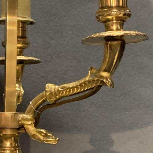 Large French Brass Toleware Desk Lamp image-5