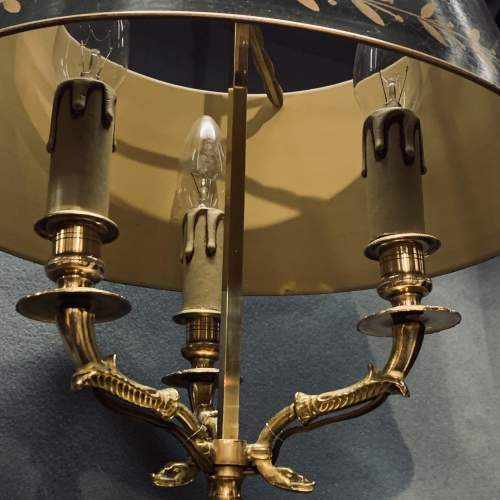 Large French Brass Toleware Desk Lamp image-6