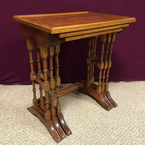 20th Century Yew Wood Nest of Tables image-2