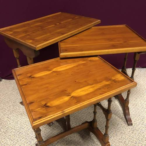 20th Century Yew Wood Nest of Tables image-3